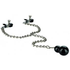 Зажимы для сосков с серебристой цепочкой и утяжелителем Weighted Dual Tier Nipple Clamps